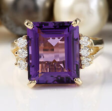6.00 Carat Natural Purple Amethyst & Diamonds 14K Yellow Gold Women Ring