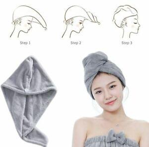 Quick Dry Hair Wrap Microfiber Rapid Turban Towel Bath Shower Cap Head Bun Fast