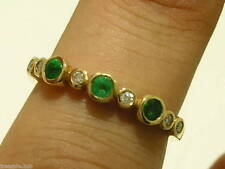 sR159 Genuine 9K Solid Gold NATURAL DIAMOND EMERALD Eternity Ring Trilogy size 6