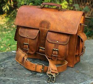 Herren Echt Leder Tasche Aktentasche Schultertasche Umhängetasche Laptoptasche