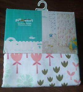 Pillowfort Fetching Florals Shower Curtain,  Pink & Green Fabric Shower Curtain
