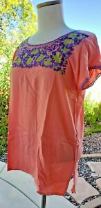Mexican Oaxacan heavy embroidered  coral peasant blouse, Small to Medium
