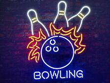 "New Bowling Game Neon Light Sign 20""x16"" Beer Man Cave Artwork"
