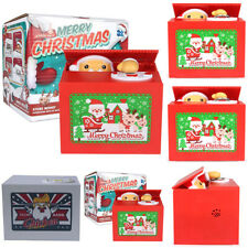 Funny Money Coins Saving Box Automated Christmas Santa Stealing Penny Xmas Toy