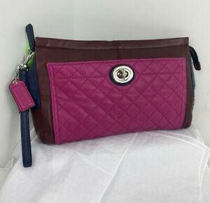 Coach Wristlet Clutch Park Quilted Colorblock Large Burgundy Pink  F50147 B22