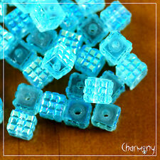 6mm Cube AB resin beads ~PACK of 30~ square design light blue craft 1.5mm hole