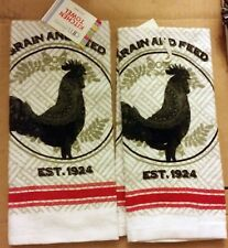 "2 RARE SAME PRINTED KITCHEN TOWELS (15"" x 25"") BLACK ROOSTER, GRAIN & FEED"