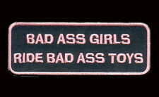 BAD ASS GIRLS  RIDE BAD ASS TOYS PINK 4 INCH LADY BIKER PATCH