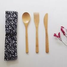 Wood Dinnerware Set Bamboo Fork Knife Soup Teaspoon Cutlery Set With Cloth Bag
