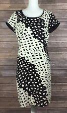 Talbots NWT Womens Textured Sheath Dress 14 Petites Black Ivory Lined Career C79