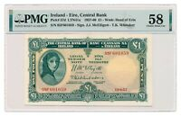 IRELAND banknote 1 Pound 1957 PMG AU 58 Choice About Uncirculated