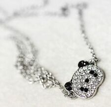 PANDA NECKLACE SILVER PLATED CUBIC ZIRCONIA CRYSTAL PENDANT #KC69 Free Ship