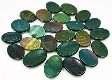 CARVED - (1) BLOODSTONE Crystal Worry Stone w/Description - Healing Reiki Stone