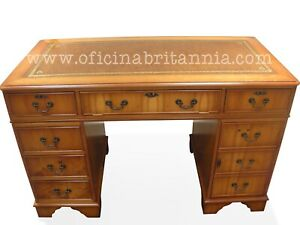 New! Traditional English DESK Yew 4'x2' LEATHER CHOICE from OFICINA BRITANNIA!!