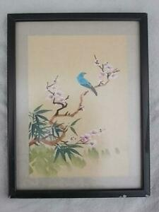 M96 / A FRAMED SMALL CHINESE WATERCOLOUR ON CLOTH BIRD AND BLOSSOM