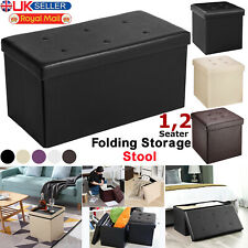 1&2 Seater Large Folding Storage Faux Leather Ottoman Pouffe Seat Stools Box New