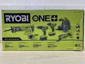 RYOBI ONE+ P1819 18V Lithium-Ion Cordless 6-Tool Combo Kit NEW