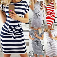 Women Striped Fake Two-piece Dress Short Sleeve Casual Beach Sport Dress 41