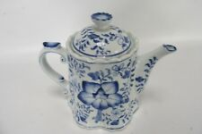 """Vintage Ornate Hand Painted China Blue Sadlek Andrea Teapot With Lid 8"""" Tall"""