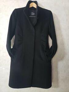 Saks Fifth Avenue Womens 8 Cashmere Wool Long Coat Ruching Slimming Black