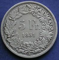 MONETA COIN MONNAIE SUISSE SWITZERLAND SVIZZERA 5 FRANCHI 1851 A ARGENTO SILVER