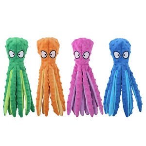 Dog Squeaky Toy Plush Octopus No Stuffing Interactive Durable Reduce Boredom