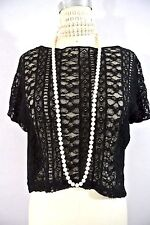 Black Lace Loose/Casual Top Blouse Cotton T Shirt Crop Longer in back stretch M