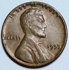 1955 Philadelphia Mint Lincoln Wheat 1 Cent Penny.  *( CRACKED SKULL )* Error
