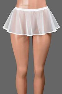 """White Mesh Micro Mini Skirt 8"""" long XS S M L XL 2XL 3XL sheer lingerie plus size"""