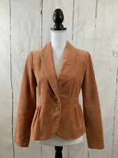J. CREW Eden Blazer Jacket Peach Apricot Velvet Peplum Style #30591 Size 2