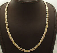 """18"""" 6mm Wide Reversible Byzantine Chain Necklace Real 14K Yellow White Gold QVC"""