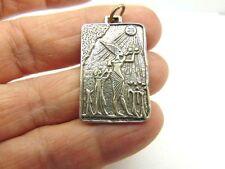 Vtg Sterling Silver Cartouche Necklace Egyptian Tribal Cirus Gods Rah Sun Diety