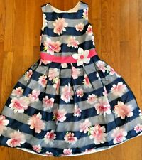 Girls Sleeveless Floral Dress with Back Bow, Size 12, Free SHIP