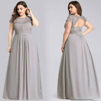 Ever-Pretty US Grey Bridesmaid Dresses Long Lace Plus Size Evening Party Gowns