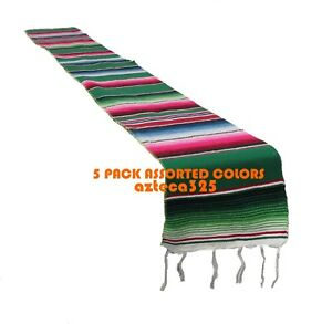 """5 Pack Assorted 82""""x10""""  Mexican Serape Table Runner Mexican Party Decor"""