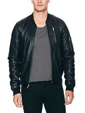 SALE BLK DNM Black Leather Classic Bomber Jacket 45 NWT L