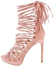 High Stiletto Exotic Heel Strappy Mid Calf Lace Up Tassel Gladiator Sandals H167