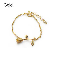 1 PC Adjustable Chic Letter Bangle Wrist Chain Rose Flower Bracelet Jewelry Gift Gold