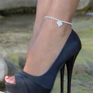 Women Lady Crystal Rhinestone Heart Anklet Ankle Bracelet Chain Jewelry LD