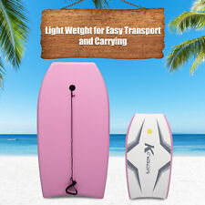Lightweight Surfboard Pink Ocean Bodyboard with Wrist Leash for Adults and Teens