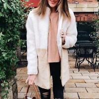 Womens Plush Autumn Winter Long Sleeve Warm Long Coat Overcoat Tops Outdoor CA