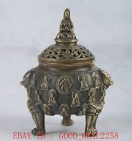 Chinese Copper Hand Carved Buddha Incense Burner W Ming Dynastry XuanDe Mark