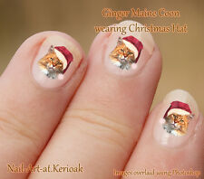 GINGER CAT, maine coon, Christmas, Santa Hat Set of  24 Nail Art Stickers Decals