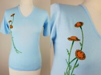 Vtg 1970s Deadstock Blue Graphic Floral Cotton V-Neck T-shirt  -8- LM21