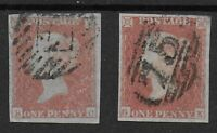 SG9.  1d.Pale Red-Brown (Worn Plate). 2-Each With 4 Margins. Cat.£80.  Ref:0-26
