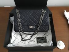 Chanel Classic Reissue 2.55 Flap Quilted Calfskin 226 Navy Blue Ruthenium Chain