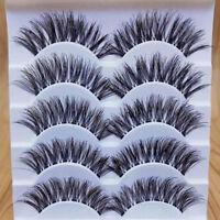 EE_ Makeup Handmade 5 Pairs Natural Long Dense False Eyelashes Extension Novelty