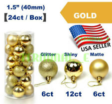 24 CT Shatterproof Christmas Ornament Balls Tree Hanging Wedding Decor GOLD
