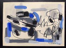 F298 Gouache Originale Abstraction par Jean Chevolleau (1924-1996)
