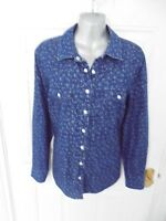 ❤ TU Size 12 Blue White Detail Popper Fasten Denim Shirt Blouse Top Pockets